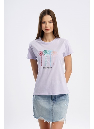 Nismia Renkli Palmiye Nakışlı Işlemeli Basic Tshirt Lila
